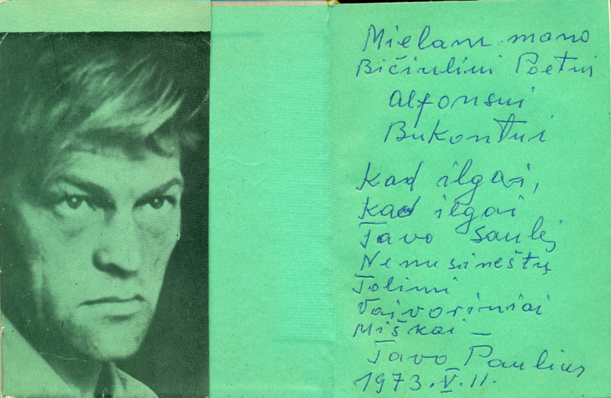 P. Širvio dedikacija poetui Alfonsui Bukontui. Vilnius, 1973 m. gegužės 11 d.
