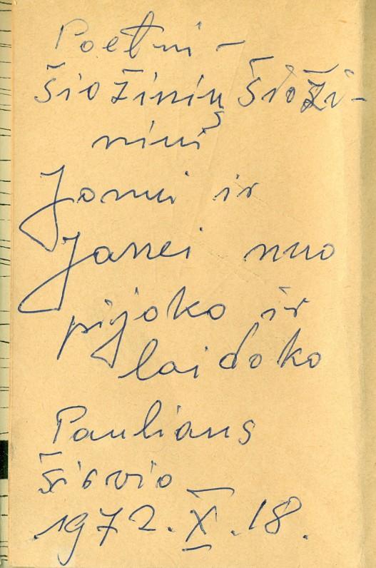 P. Širvio dedikacija poetui Jonui Šiožiniui. Vilnius, 1972 m. spalio 18 d.