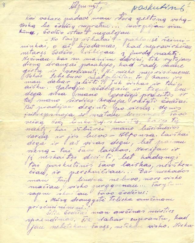 P. Širvio laiškas A. Žegliūnaitei. 1950 m.