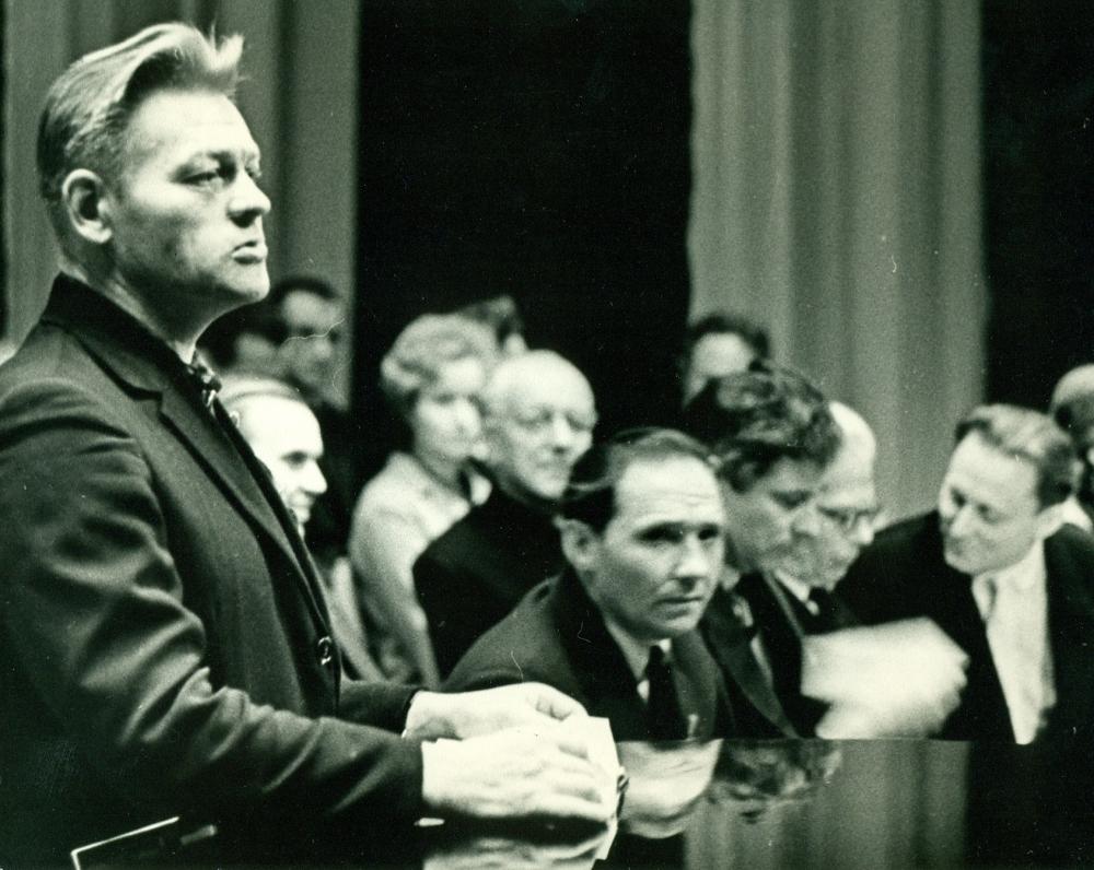 P. Širvys Klaipėdos išvadavimo 20-mečio minėjime. Klaipėda, 1965 m.