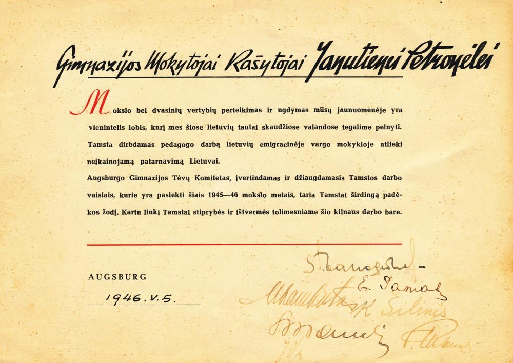 Padėka P. Orintaitei. 1946 m.
