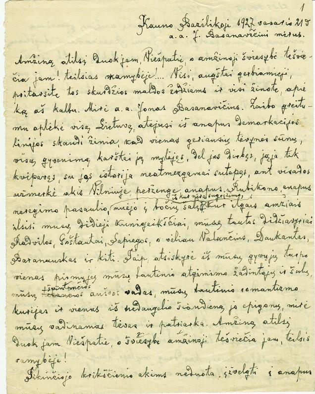 Pamokslo fragmentas. 1927 m.