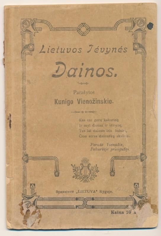 """Parašytos Kunigo Vienožinskio. Spaudė """"Lietuva"""". Ryga. 1912 m."""