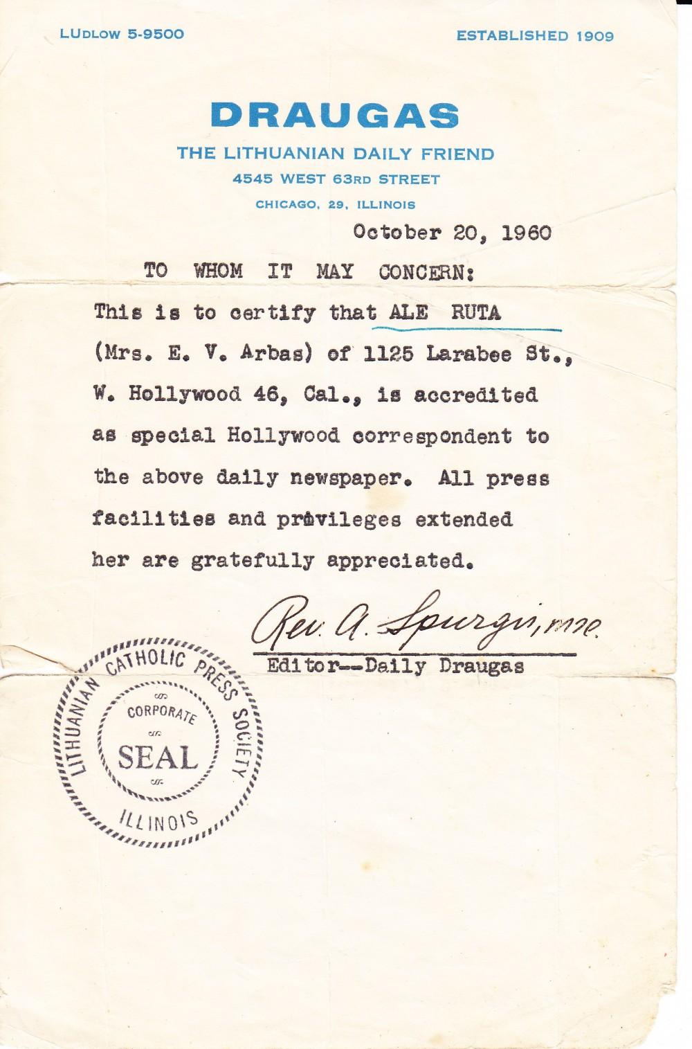 """Pažyma apie Alės Rūtos paskyrimą dienraščio """"Draugas"""" korespondente. 1960 m."""
