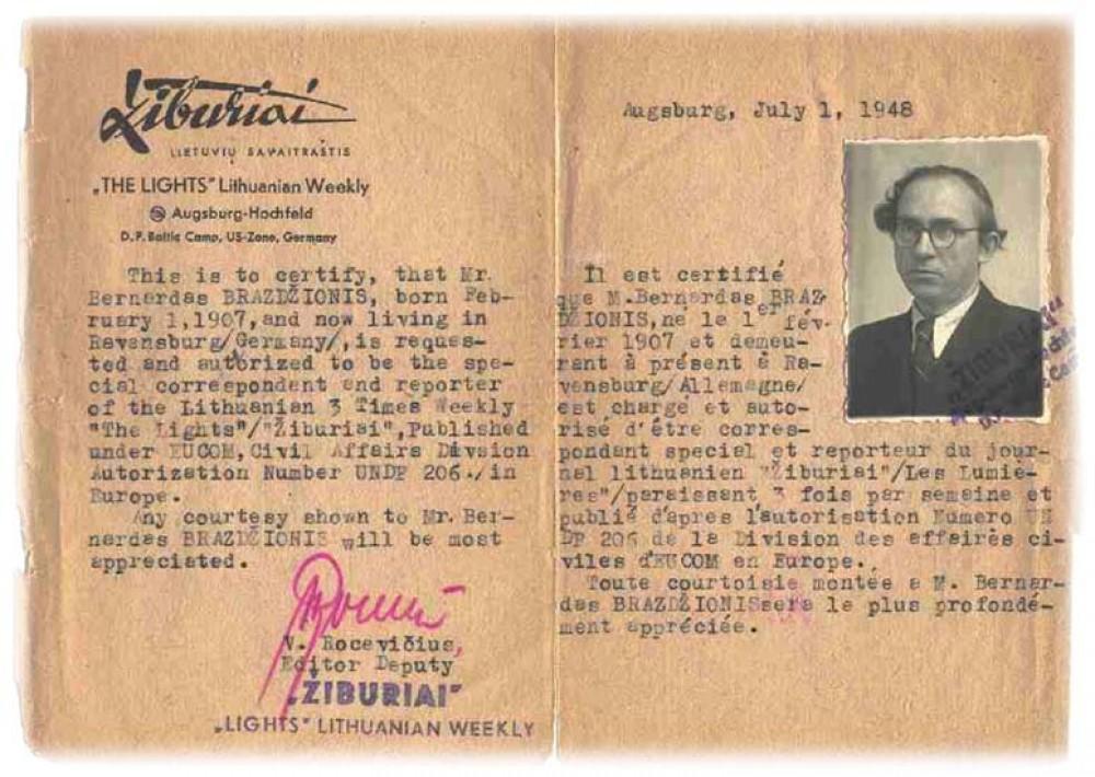 """Pažyma apie B. Brazdžionio darbą lietuvių savaitraštyje """"Žiburiai"""", išduota 1948 m. liepos 1 d. Augsburge"""