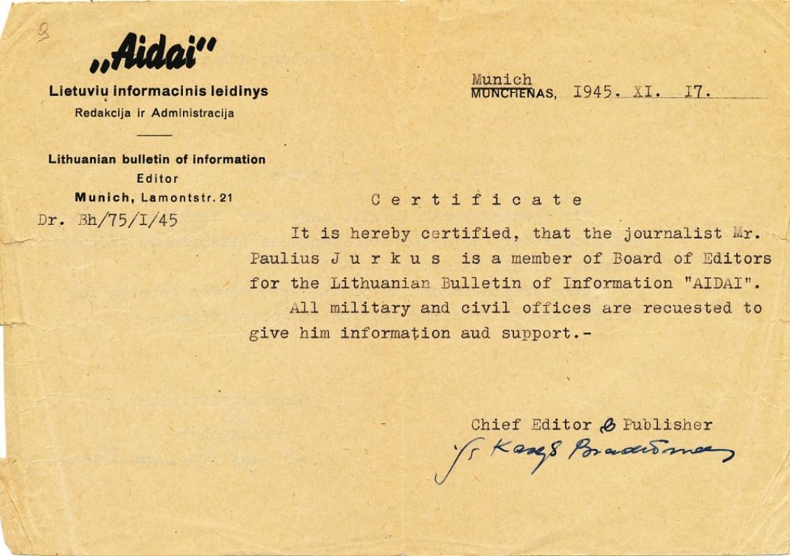 """Pažyma, patvirtinanti, kad P. Jurkus yra žurnalo """"Aidai"""" redakcijos narys"""