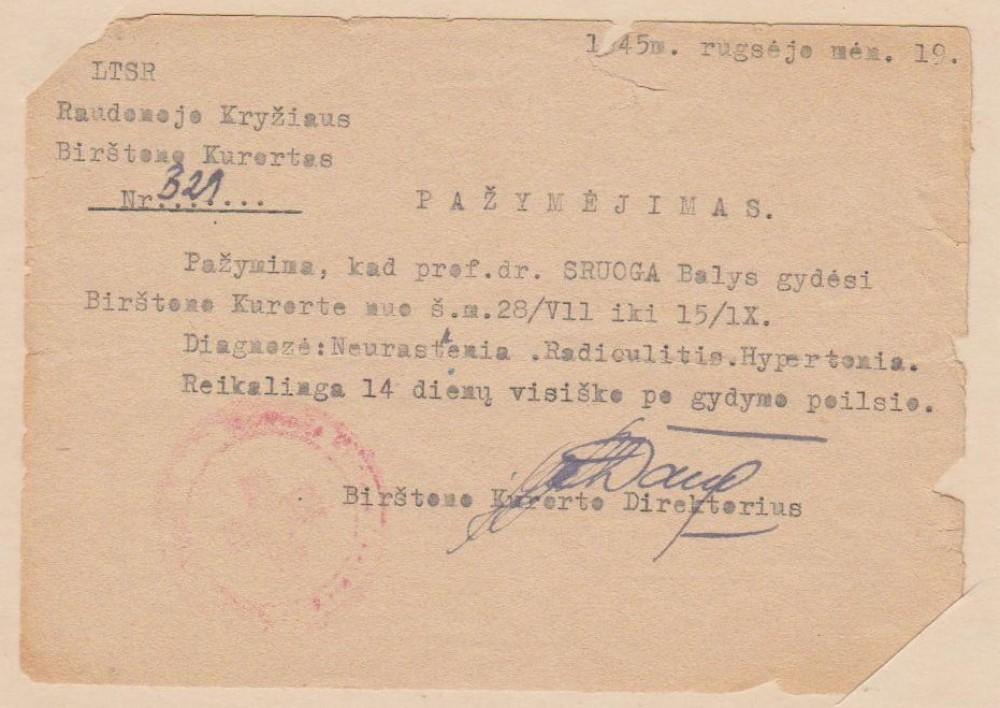 Pažymėjimas. Birštonas, 1945 09 19