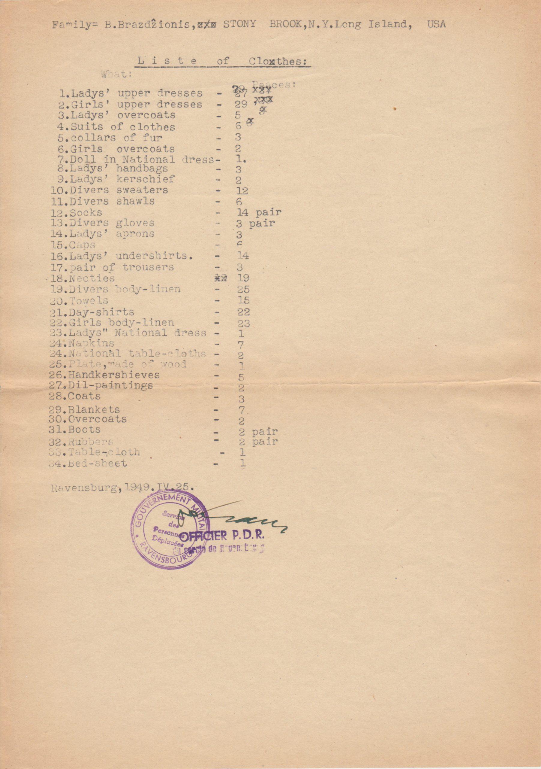 Bern. Brazdžionio šeimos pervežamų į JAV daiktų deklaracija. 1949 m.