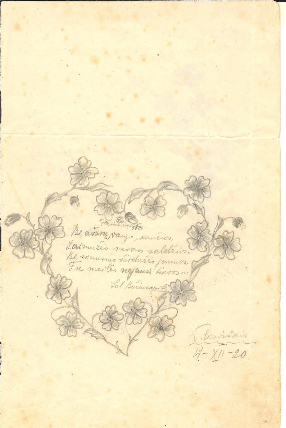 Pirmasis žinomas S. Bačinskaitės ketureilis ir jos piešinys bendramokslės B. Bulvičiūtės mokykliniame albumėlyje. 1920 m. gruodžio 4 d.