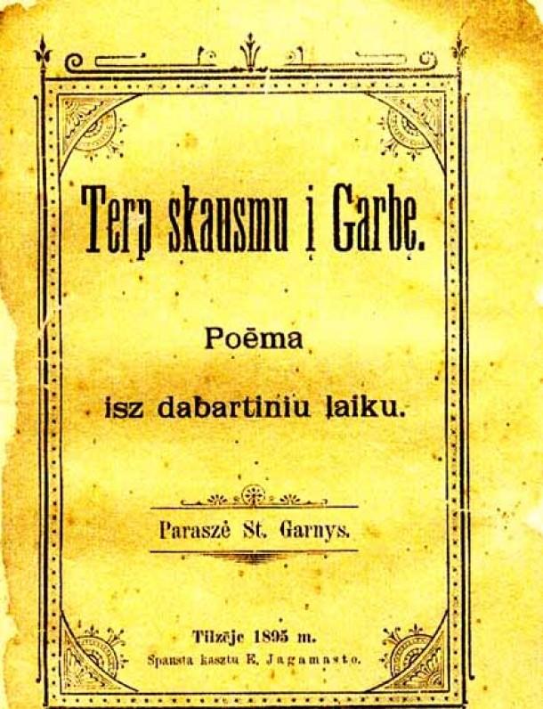 """Poema """"Tarp skausmų į garbę"""". Tilžė. 1895 m."""