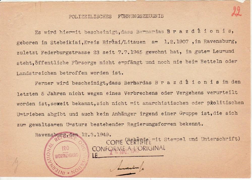 Policinė elgesio pažyma, išduota B. Brazdžioniui