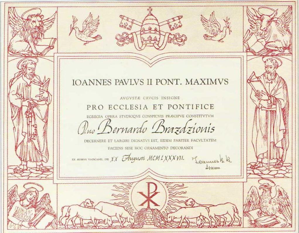 Popiežiaus Jono Pauliaus II medalio suteikimo dokumentas