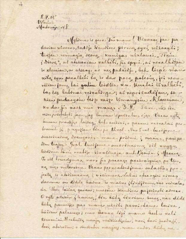 Povilo Višinskio laiškas būsimai žmonai Juzefai