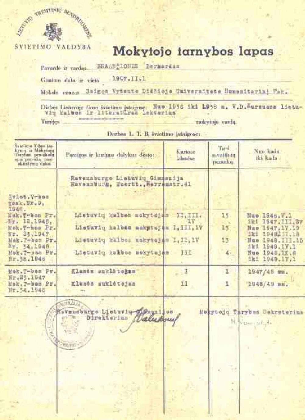 Ravensburgo lietuvių gimnazijos mokytojo Bern. Brazdžionio tarnybos lapas, išduotas 1949 m.