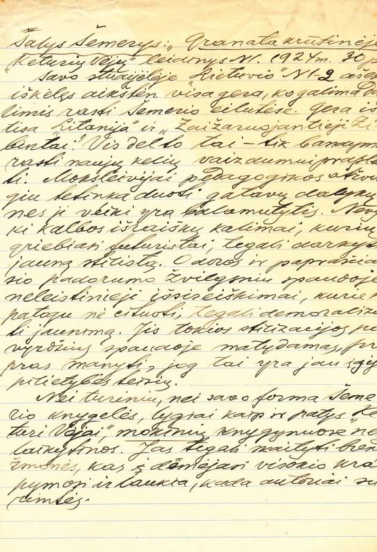 Recenzija apie S. Šemerio knygą