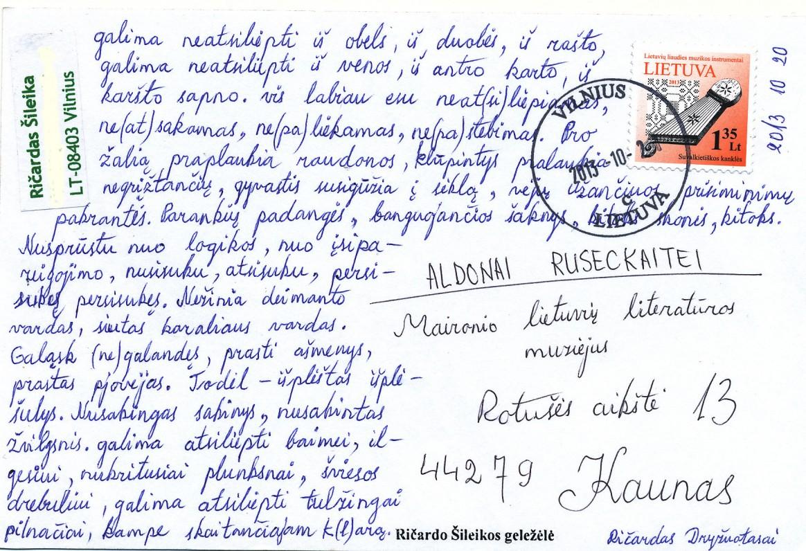 Ričardo Šileikos atvirlaiškis Aldonai Ruseckaitei