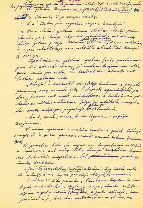 """Romano """"Arbata penktą valandą ryto"""" rankraštis. 1978 m."""