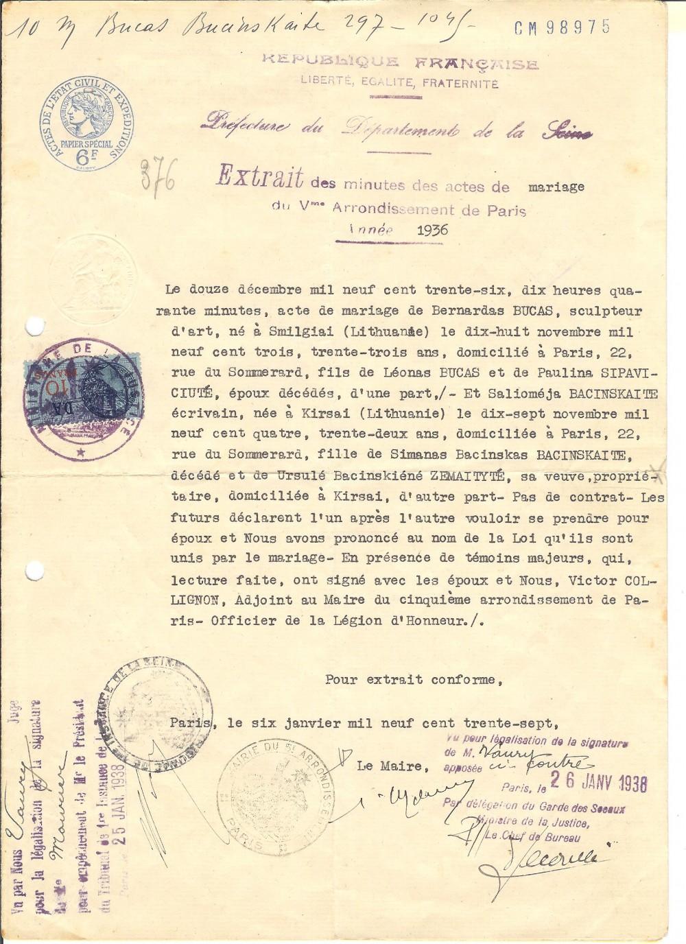 S. Bačinskaitės ir B. Bučo santuokos liudijimas. Paryžius. 1936 m. gruodžio 12 d.