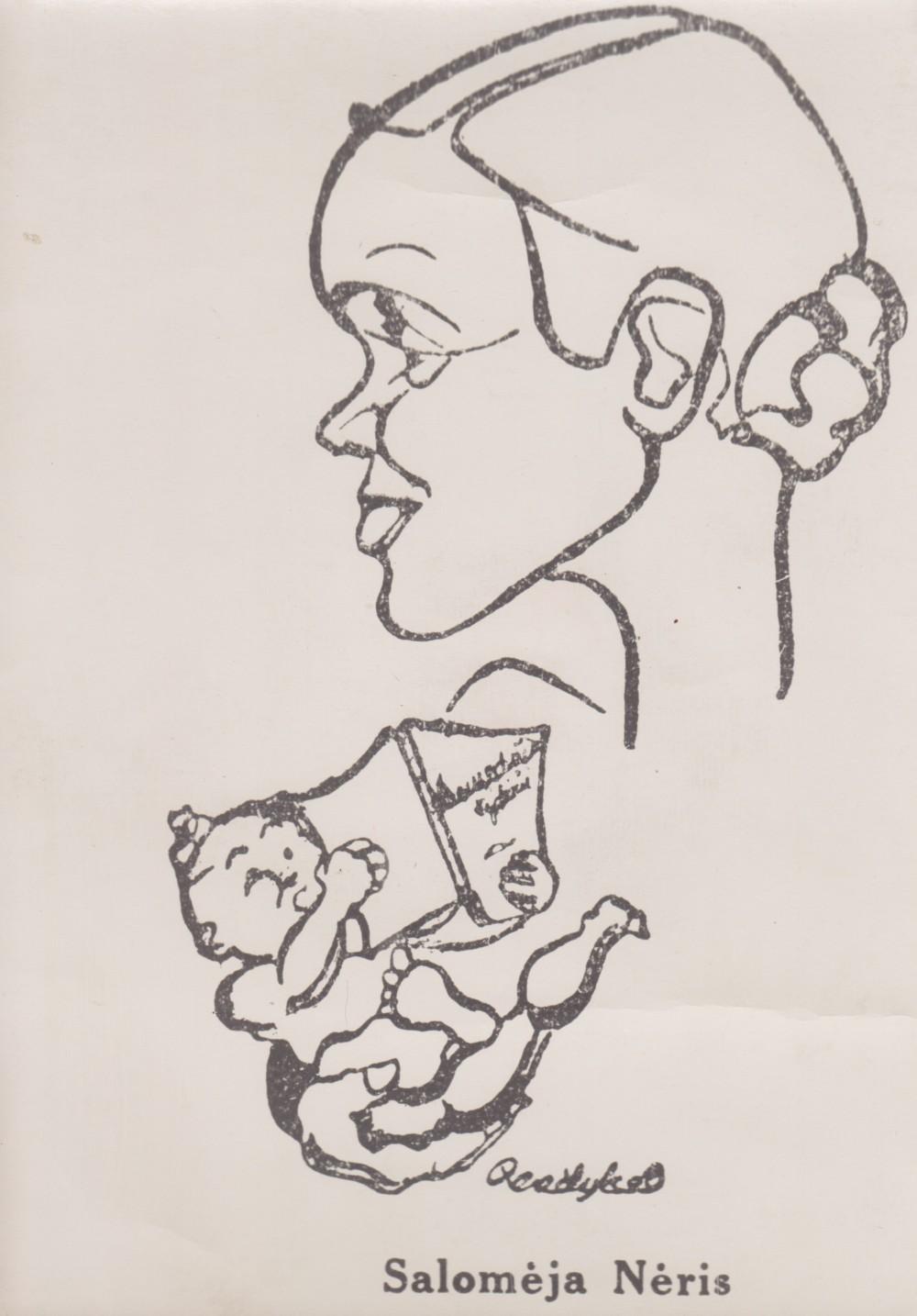 S. Bučienės draugiškas šaržas valstybinės premijos įteikimo proga. 1938 m. Dail. J. Penčyla