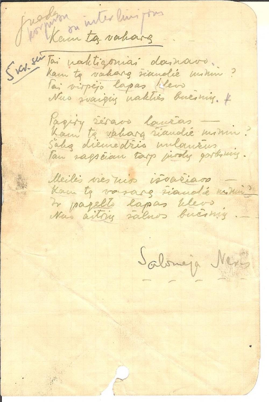 """S. Nėries eilėraščio """"Kam tą vakarą"""" rankraštis. Paryžius. 1937 m."""