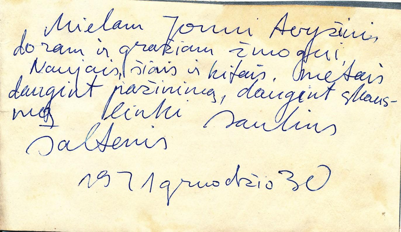 S. Šaltenio naujametinis rankų darbo sveikinimas J. Avyžiui. 1971 m., 2