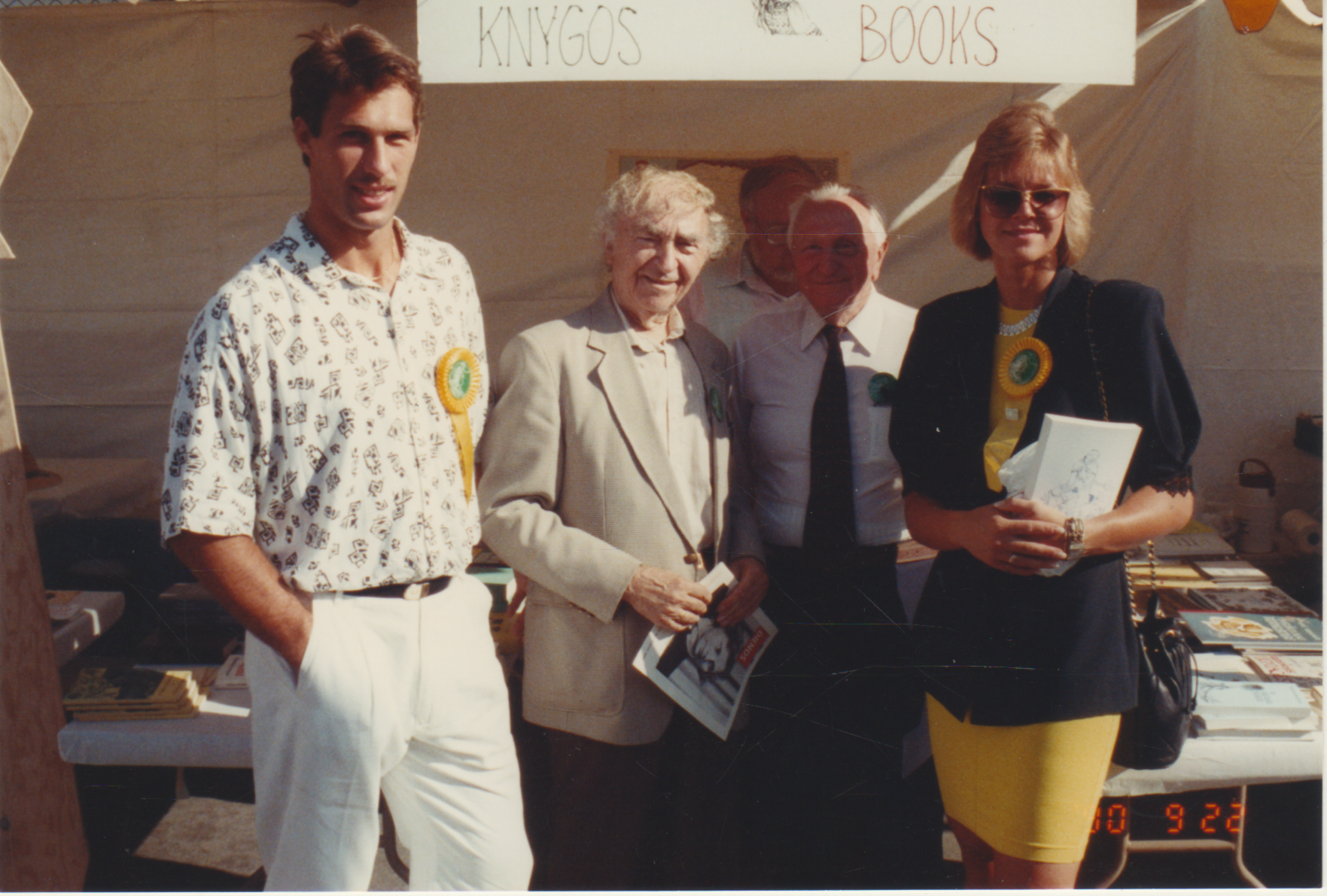 Š. Marčiulonis, B. Brazdžionis, A. Skirius, I. Marčiulionienė Lietuvių dienų šventėje . Los Andželas. 1990 m.