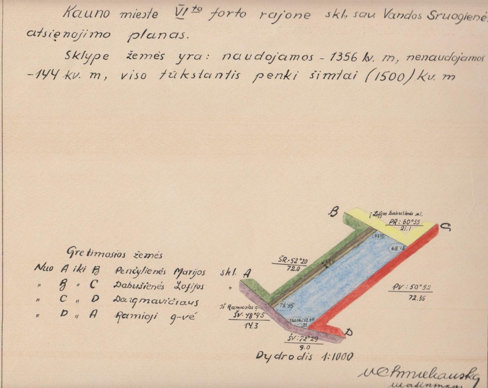 Sklypo atsienojimo planas. Kaunas. 1935 m.