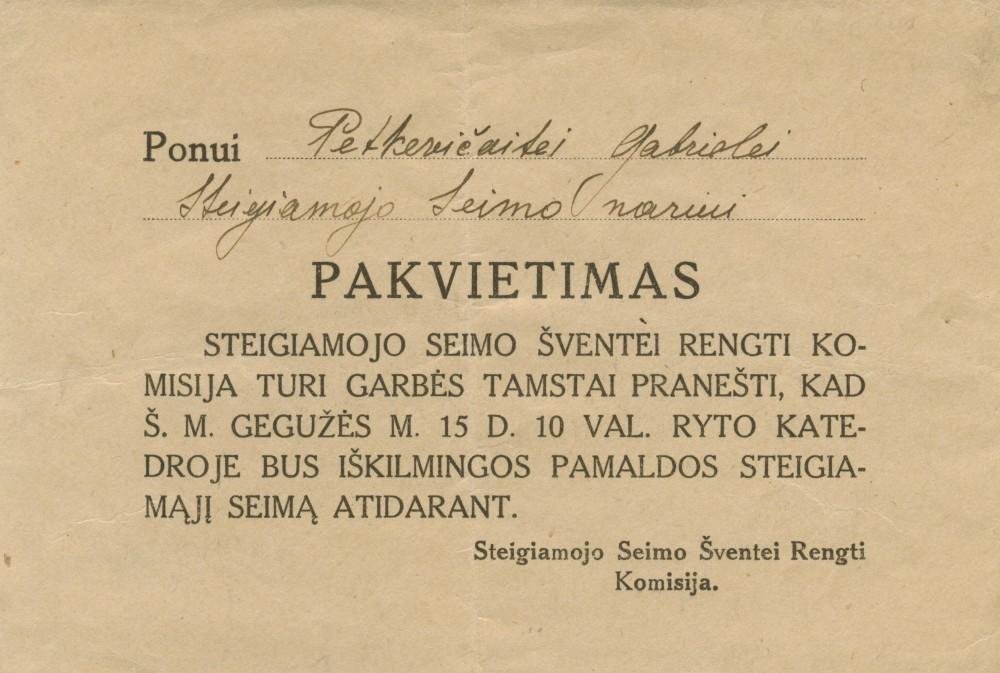 Steigiamojo Seimo šventei rengti komisijos pakvietimas G. Petkevičaitei. 1920 m. gegužės 15 d.