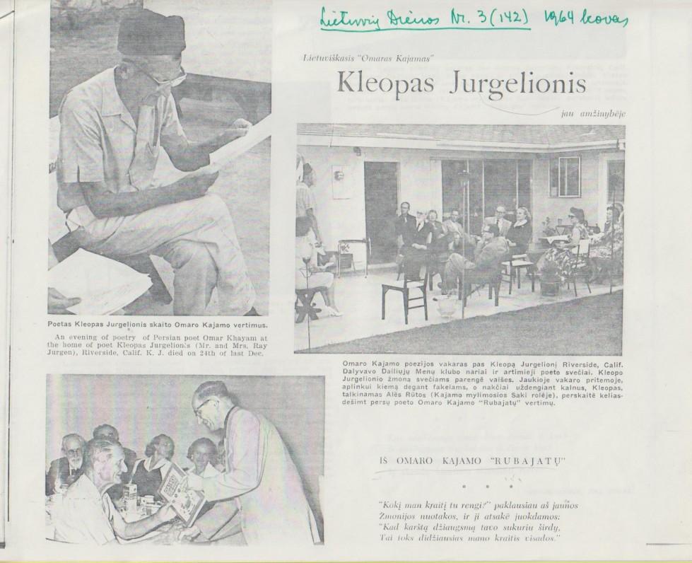 """Straipsnis apie K. Jurgelionį laikraštyje """"Lietuvių dienos"""". 1964 m."""