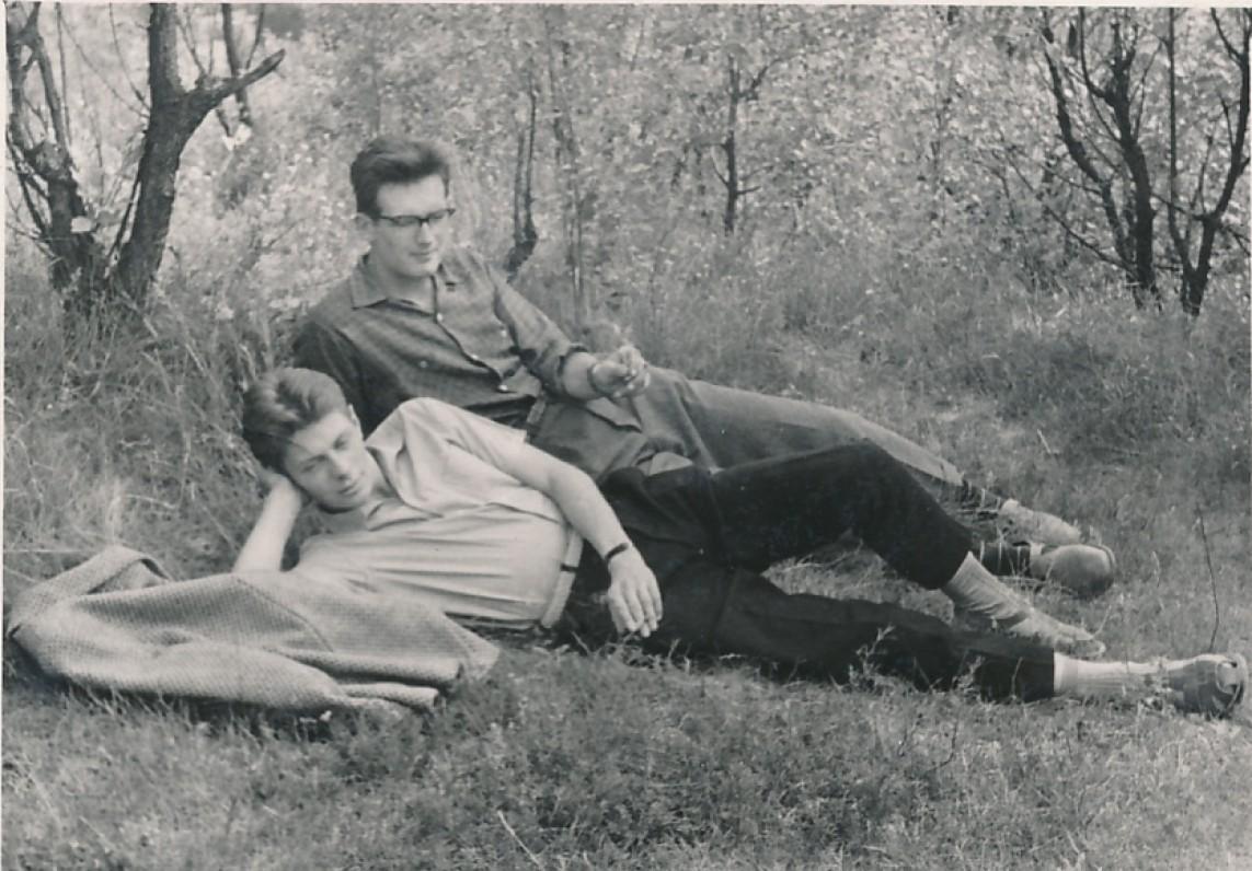 Su kurso draugu Remigijumi Gražiu. Apie 1965 m.