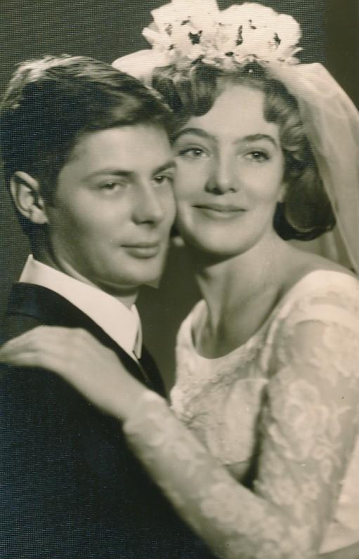 Su žmona Audrone vestuvių dieną. 1968 m.