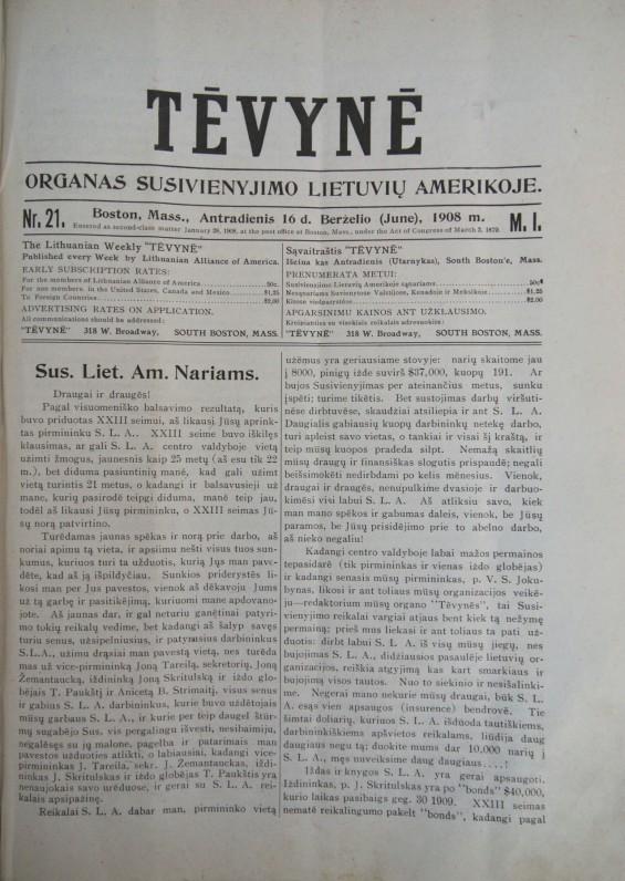 """Susivienijimo lietuvių Amerikoje (SLA) leistas laikraštis """"Tėvynė"""", kurio redaktoriumi 1938–1941 m. buvo K. Jurgelionis"""