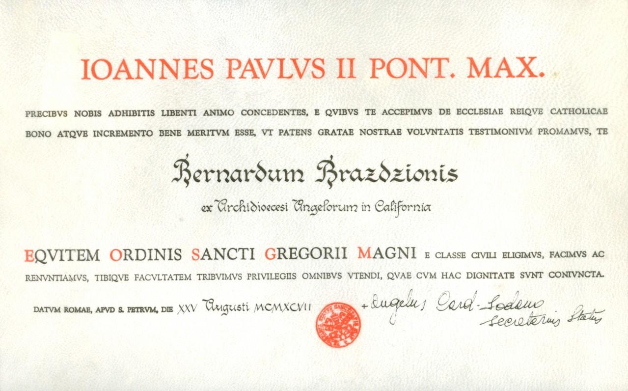 Šv. Grigaliaus Didžiojo Riterių Komandieriaus ordino suteikimo dokumentas. 1998 m.