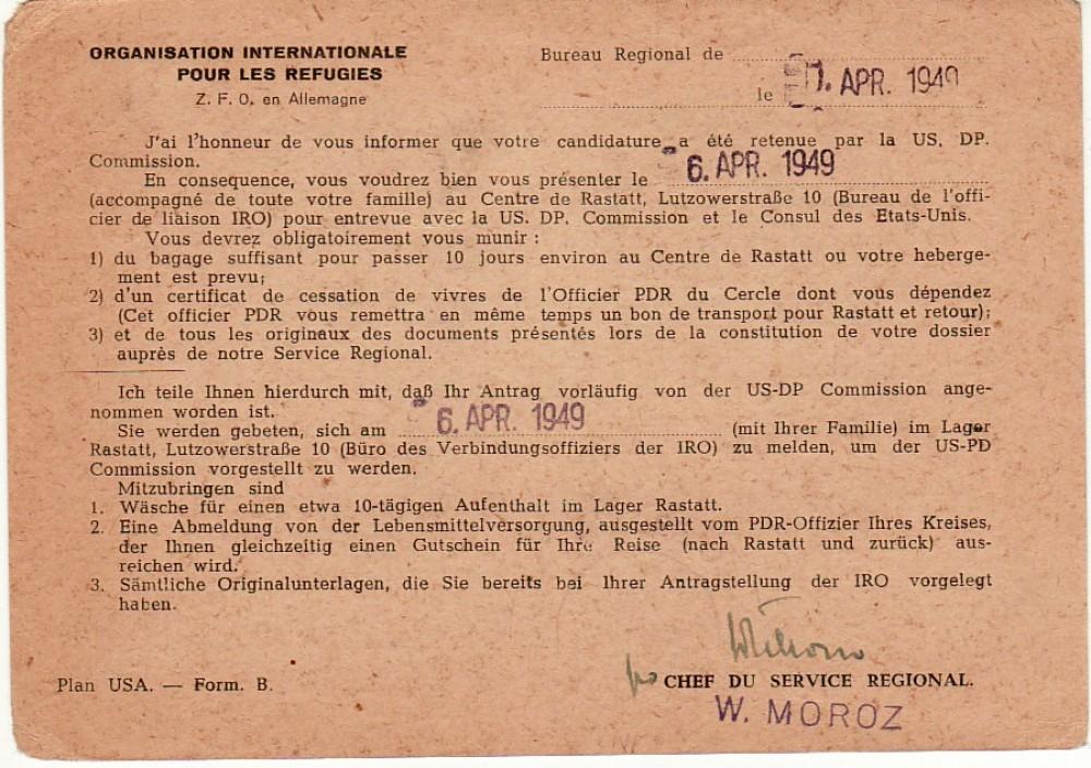 Tarptautinės karo pabėgėlių organizacijos (IRO) pranešimas atvykti 1949 m. balandžio 6 d. į emigracinę komisiją