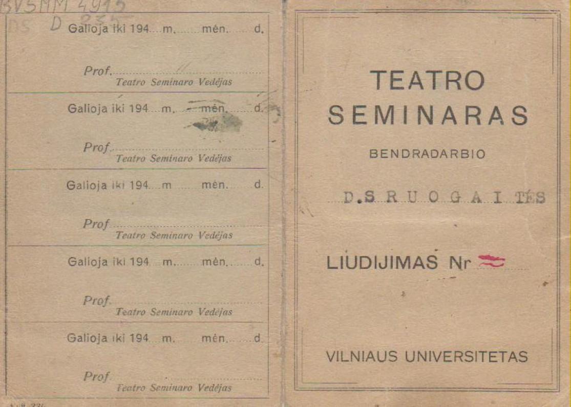 Teatro seminaro dalyvės liudijimas. Vilnius, 1943 m.