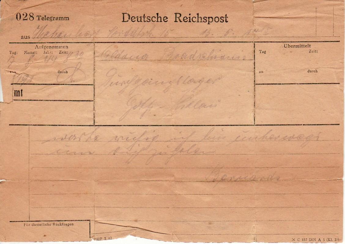Telegrama žmonai A. Brazdžionienei iš Breslau į Gotenšafeną 1944 m. rugpjūčio 7 d….