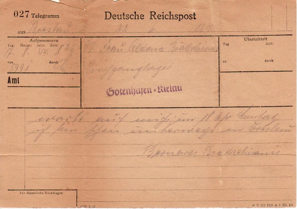 Telegrama žmonai A. Brazdžionienei iš Breslau į Gotenšafeną 1944 m. rugpjūčio 7 d.