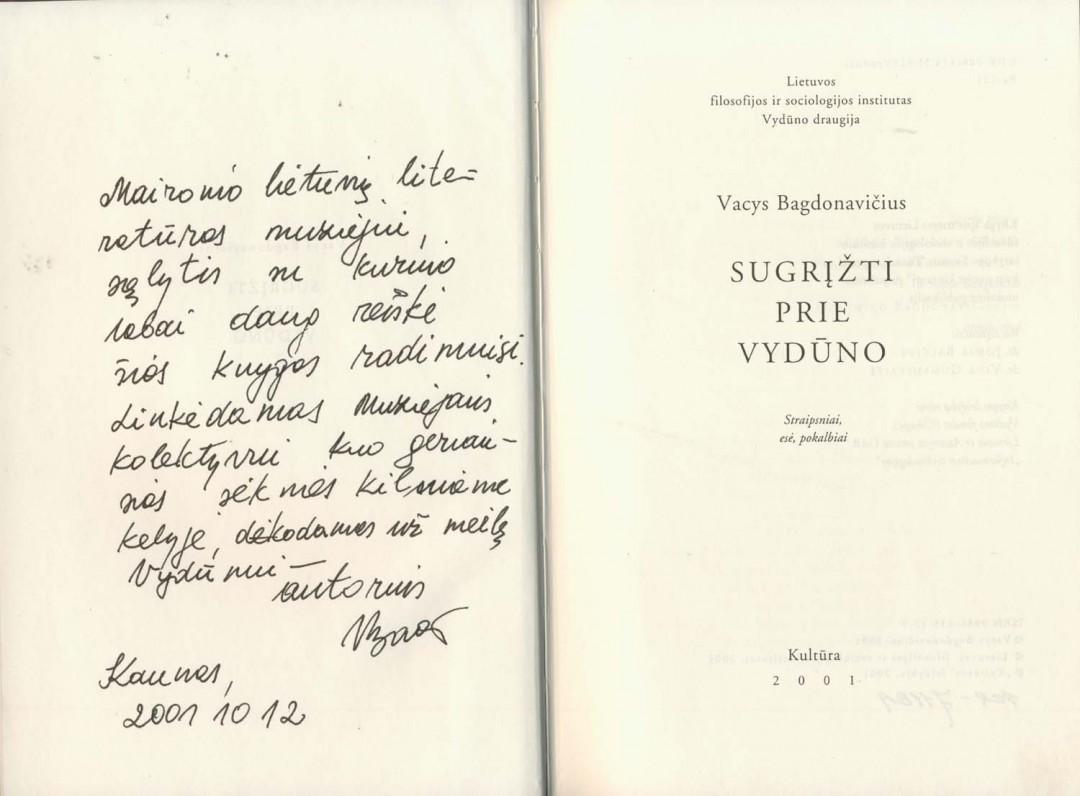 V. Bagdonavičiaus autografas Maironio lietuvių literatūros muziejui