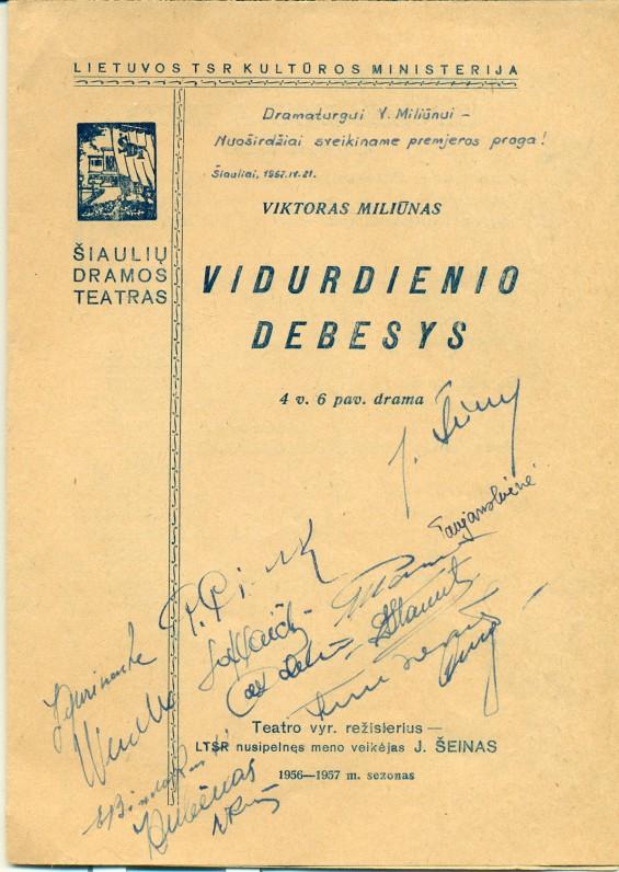 """V. Miliūno dramos """"Vidurdienio debesys"""" pastatymo Šiaulių dramos teatre programa. 1956–1957 m."""