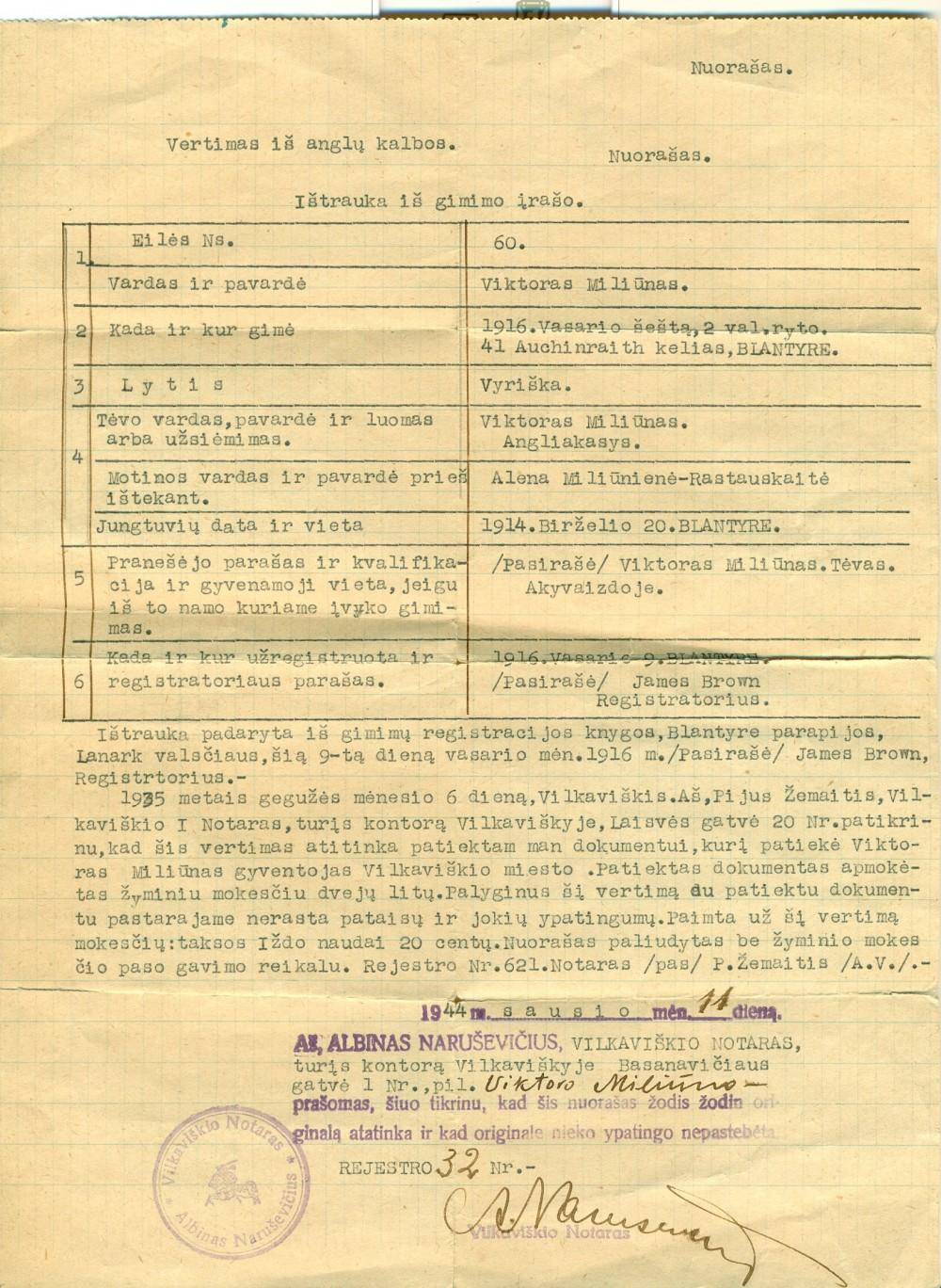 V. Miliūno gimimo liudijimo nuorašas. Vilkaviškis, 1944 m. sausio 11 d.