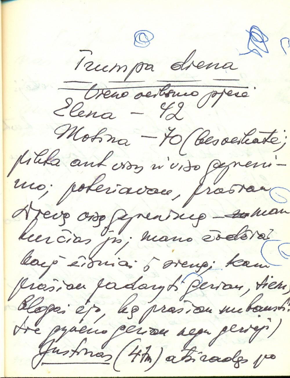 """V. Miliūno pjesės """"Trumpa diena"""" fragmentas jo užrašų knygelėje"""
