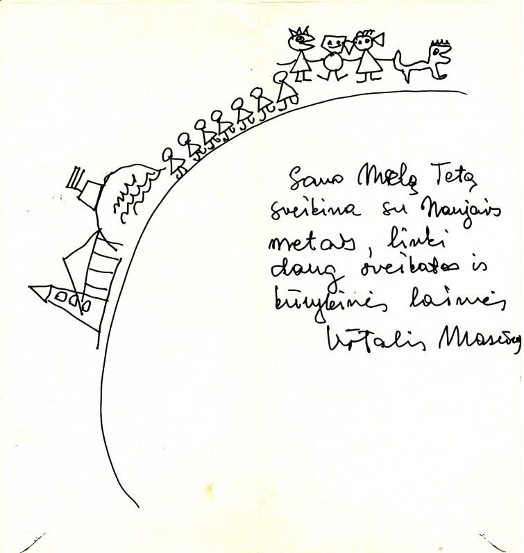 V. Mozūro naujametinis sveikinimas A. Liobytei. 1972 m., 2