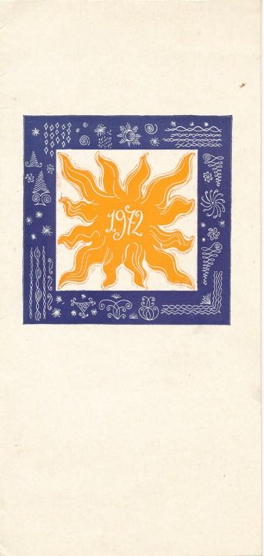 V. Mozūro naujametinis sveikinimas A. Liobytei. 1972 m.