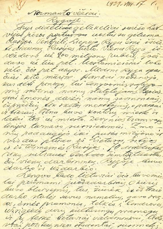Vaižganto rankraštis 2