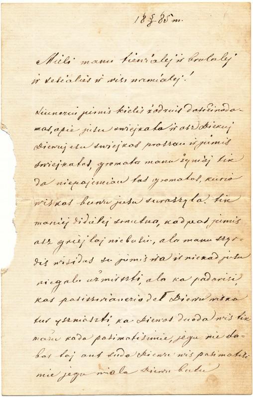 Vienas seniausių muziejuje saugomų asmeninių laiškų, parašytas lietuviškai 1885 m.