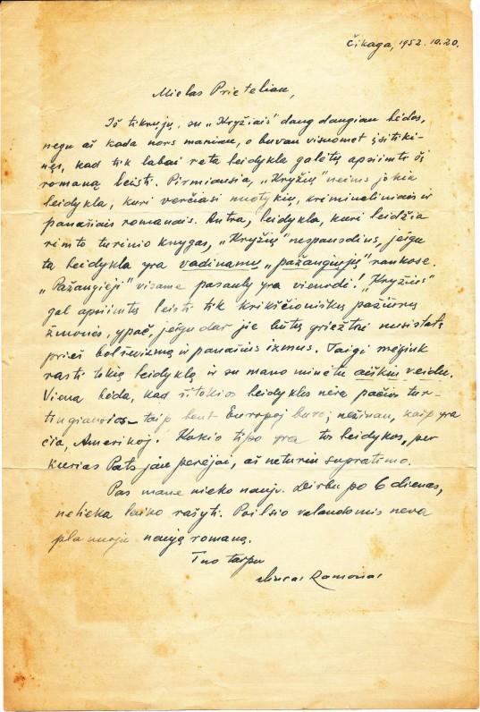 Vinco Ramono laiškas M. Starkui