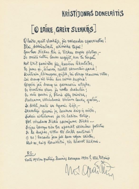 Vokiečių kalba rašyto K. Donelaičio eilėraščio vertimo į lietuvių kalbą rankraštis. Vertėjas – Jonas Graičiūnas