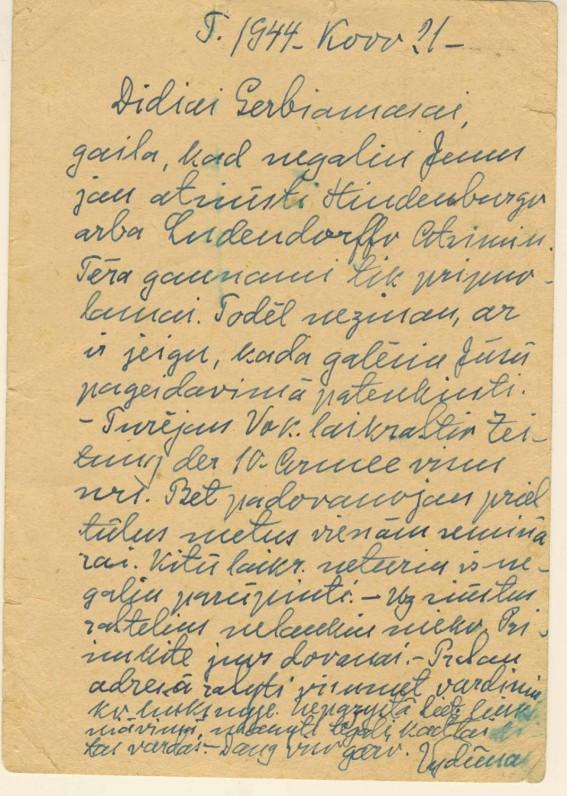 Vydūno atvirlaiškis J. Augoniui. 1944 m.