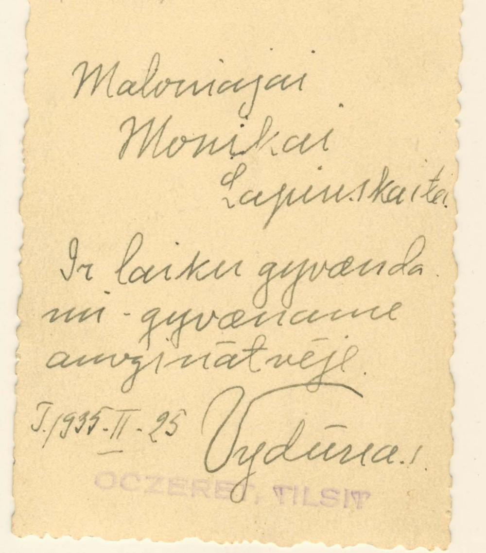 Vydūno autografas dail. M. Lapinskaitei. 1935 m.