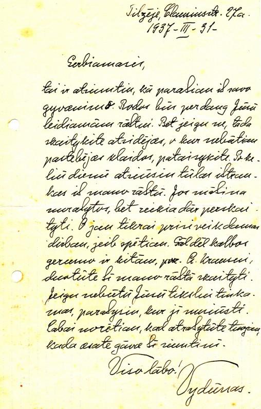 Vydūno laiškas Stasiui Anglickiui